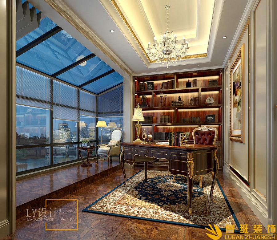 自建别墅设计装修-340平方书房