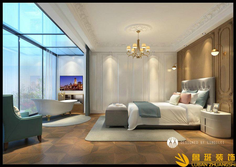 彩叠园450平现代别墅装修设计卧室