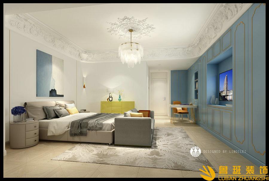 彩叠园450平现代别墅装修设计卧室1