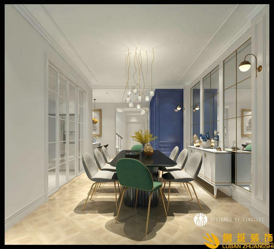 彩叠园450平现代别墅装修设计餐厅