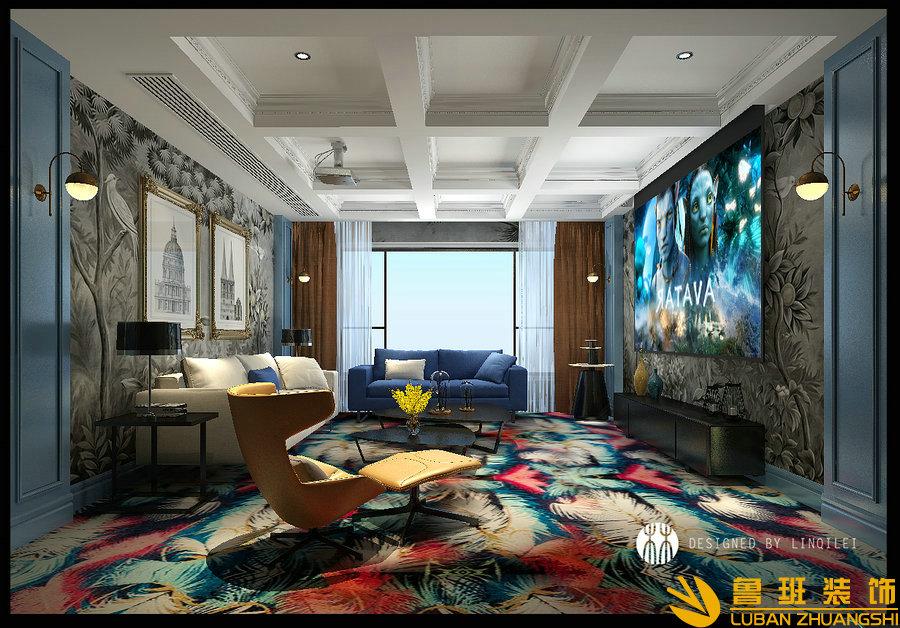 彩叠园450平现代别墅装修设计影音室