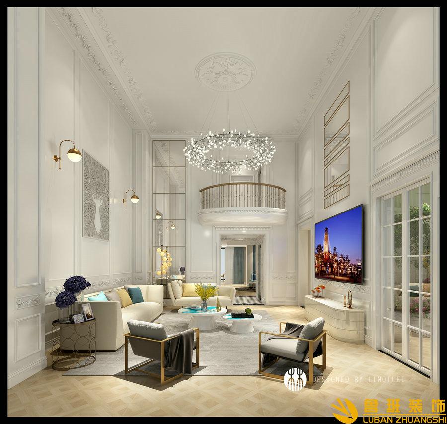 彩叠园450平现代别墅装修设计客厅1