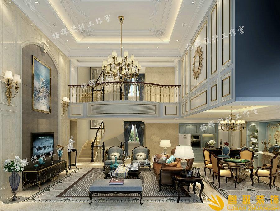 龙湖·源著370平新古典别墅设计装修客厅