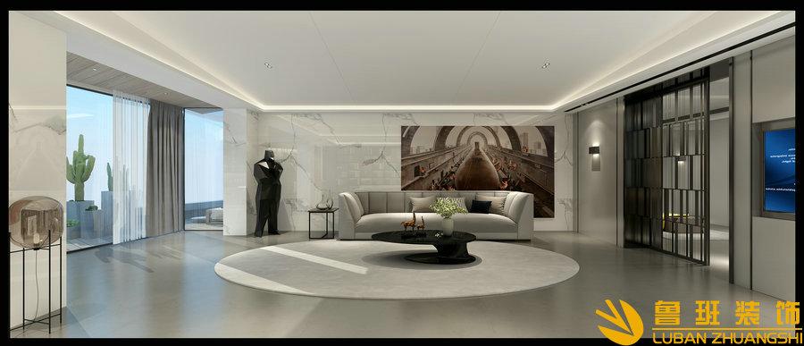 龙湖世纪峰景380大平层设计装修客厅
