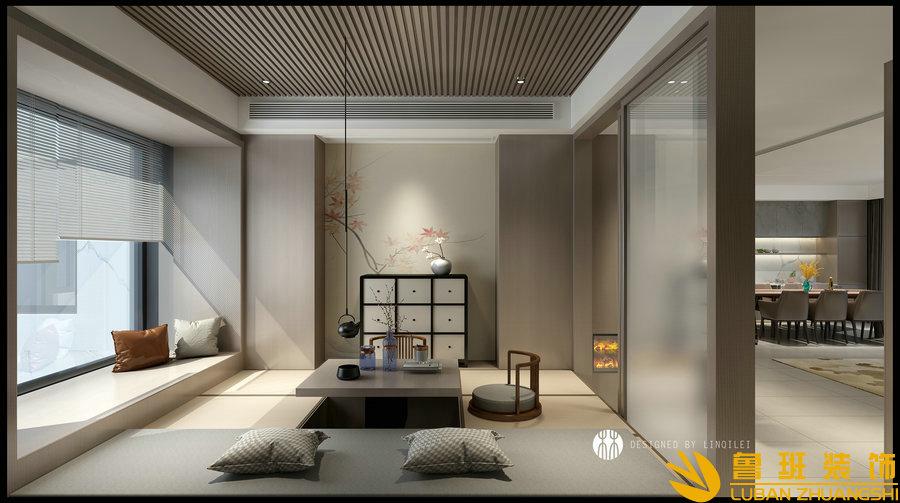 蔚蓝卡地亚花园城240平层设计装修客厅1