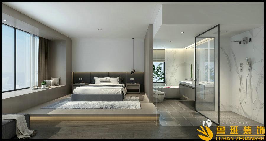 蔚蓝卡地亚花园城240平层设计装修卧室