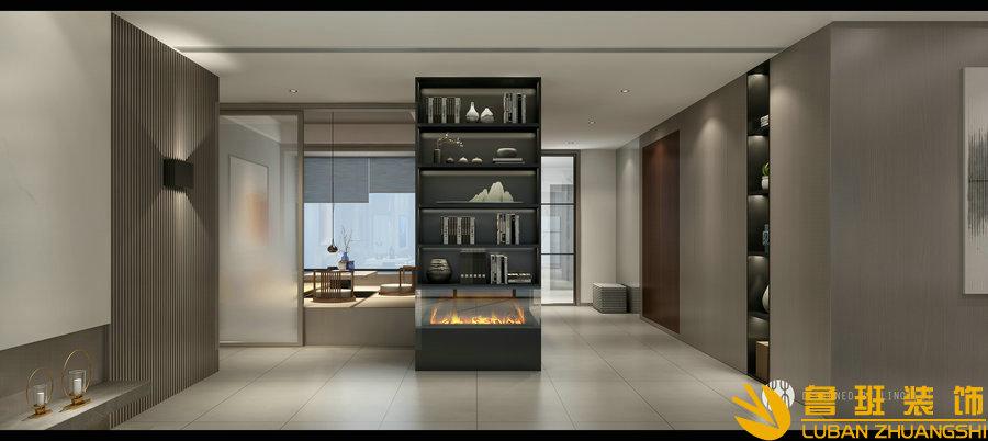 蔚蓝卡地亚花园城240平层设计装修玄关