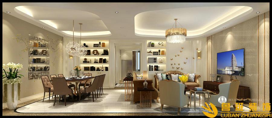 西子城林奇磊420别墅设计装修客厅