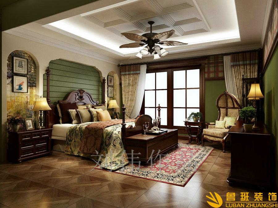 无国界214平大平层美式装修设计卧室