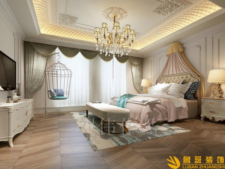 和贵南山上768法式别墅设计装修卧室