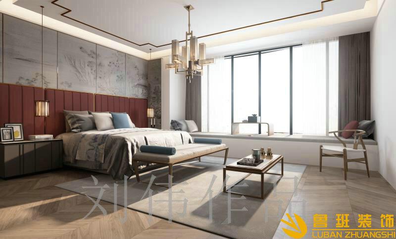 蔚蓝卡地亚花园城180中式平层设计装修主卧