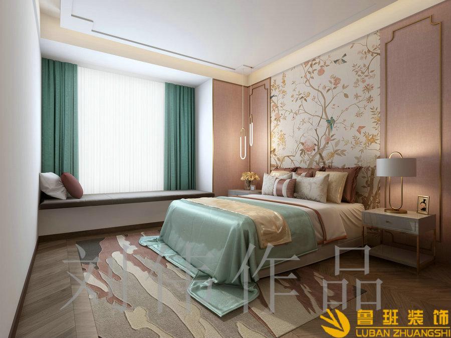 蔚蓝卡地亚花园城180中式平层设计装修卧室