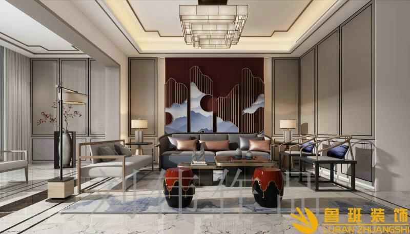 蔚蓝卡地亚花园城180中式平层设计装修客厅2