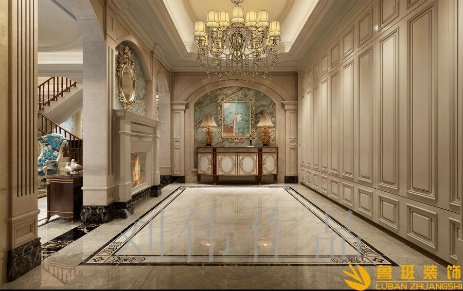 泽瑞西园336平欧式别墅设计装修门厅