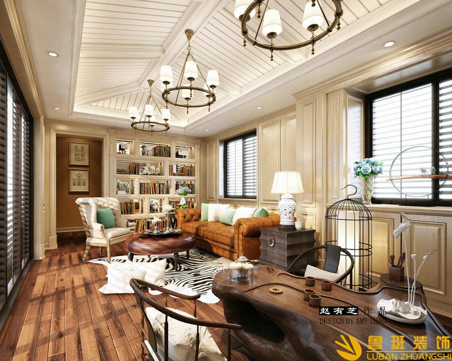 广元碧桂园400平欧式别墅装修设计休闲厅