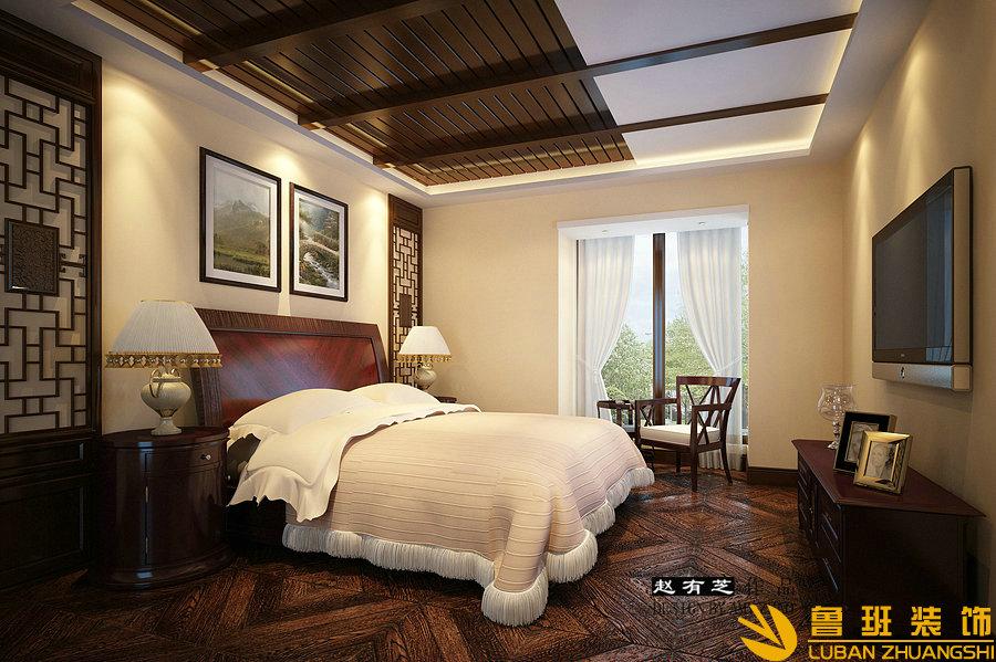 假日青城200平中式度假别墅设计装修卧室