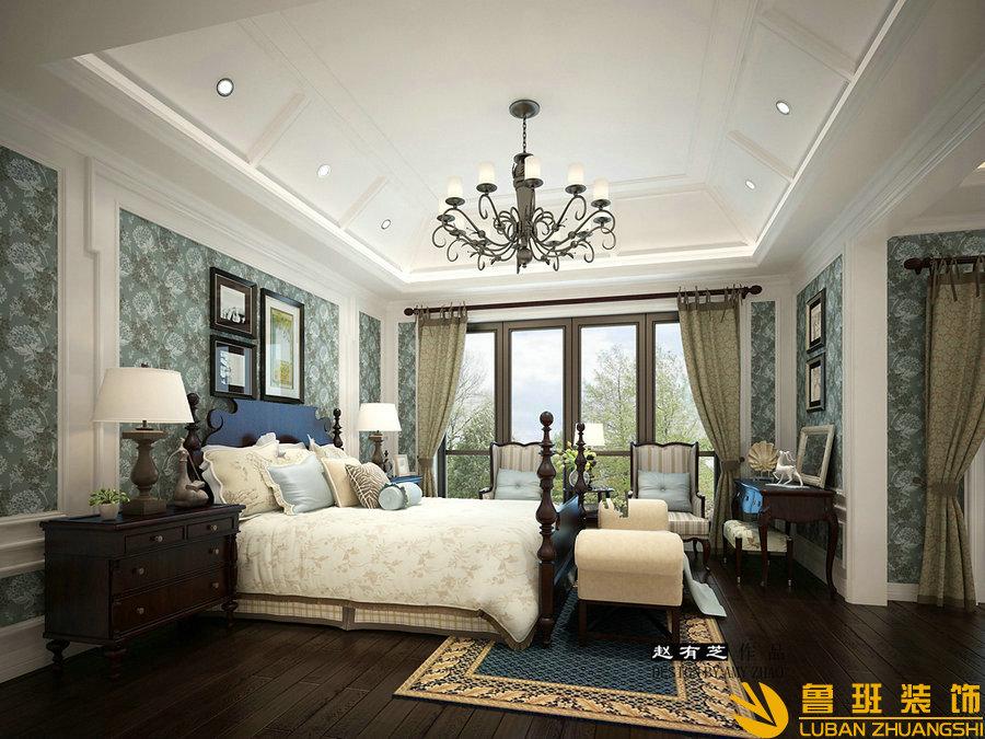远大林语城420美式别墅设计装修卧室