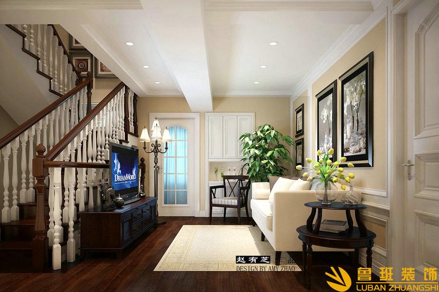 远大林语城420美式别墅设计装修起居室