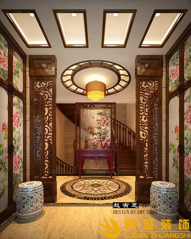 中海央墅450双拼别墅中式设计装修门厅
