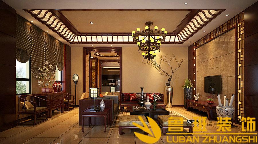 中海央墅450双拼别墅中式设计装修客厅