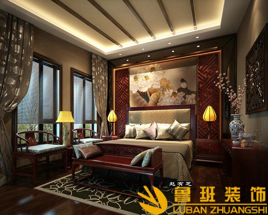 中海央墅450双拼别墅中式设计装修主卧