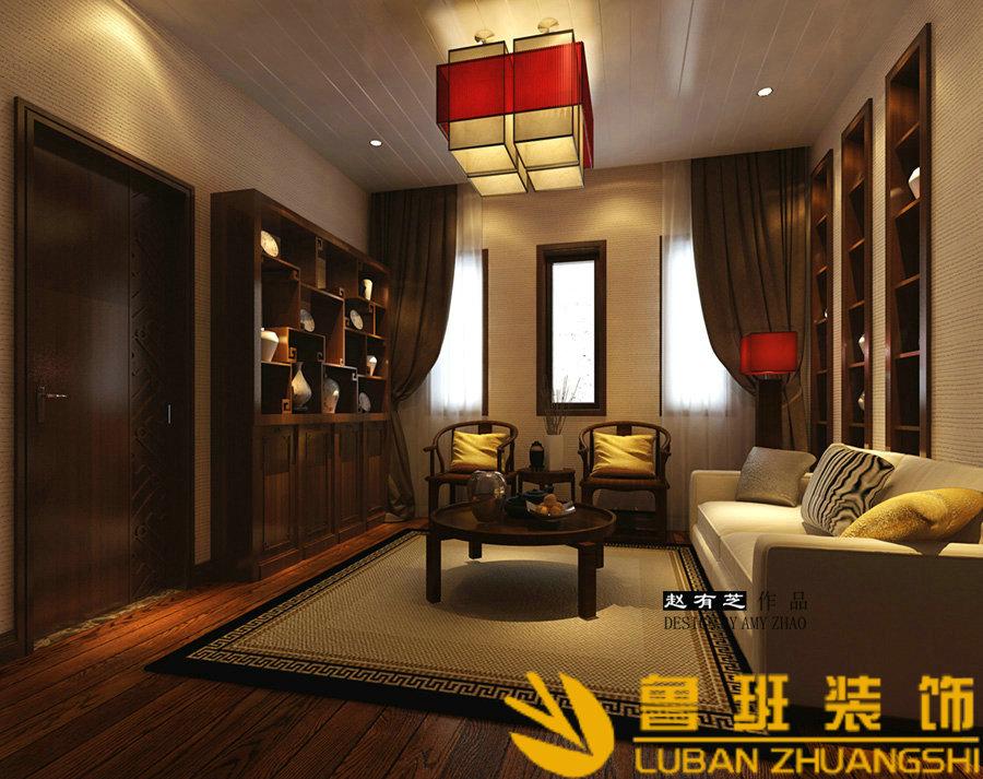 中海央墅450双拼别墅中式设计装修休闲厅