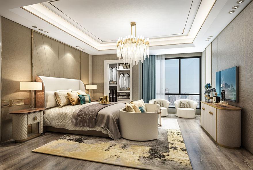 悦水蓝山300平现代轻奢别墅设计装修卧室