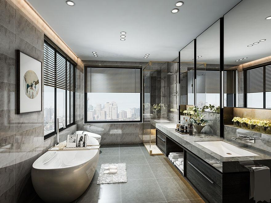 悦水蓝山300平现代轻奢别墅设计装修卫生间
