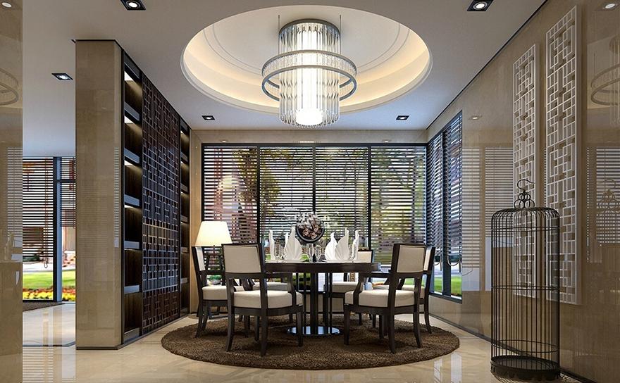雅居乐600平中式别墅装修设计餐厅