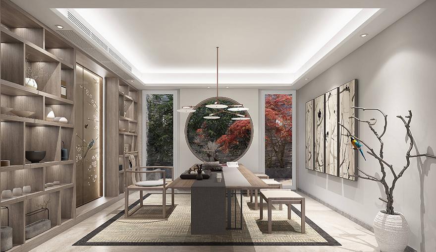 雅居乐600平中式别墅装修设计茶室