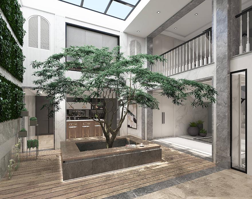 雅居乐600平中式别墅装修设计花园