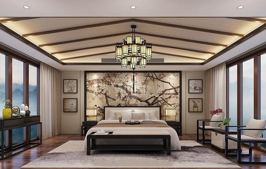 雅居乐600平中式别墅装修设计主卧
