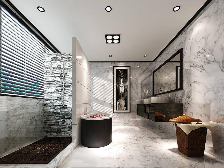 雅居乐600平中式别墅装修设计卫生间