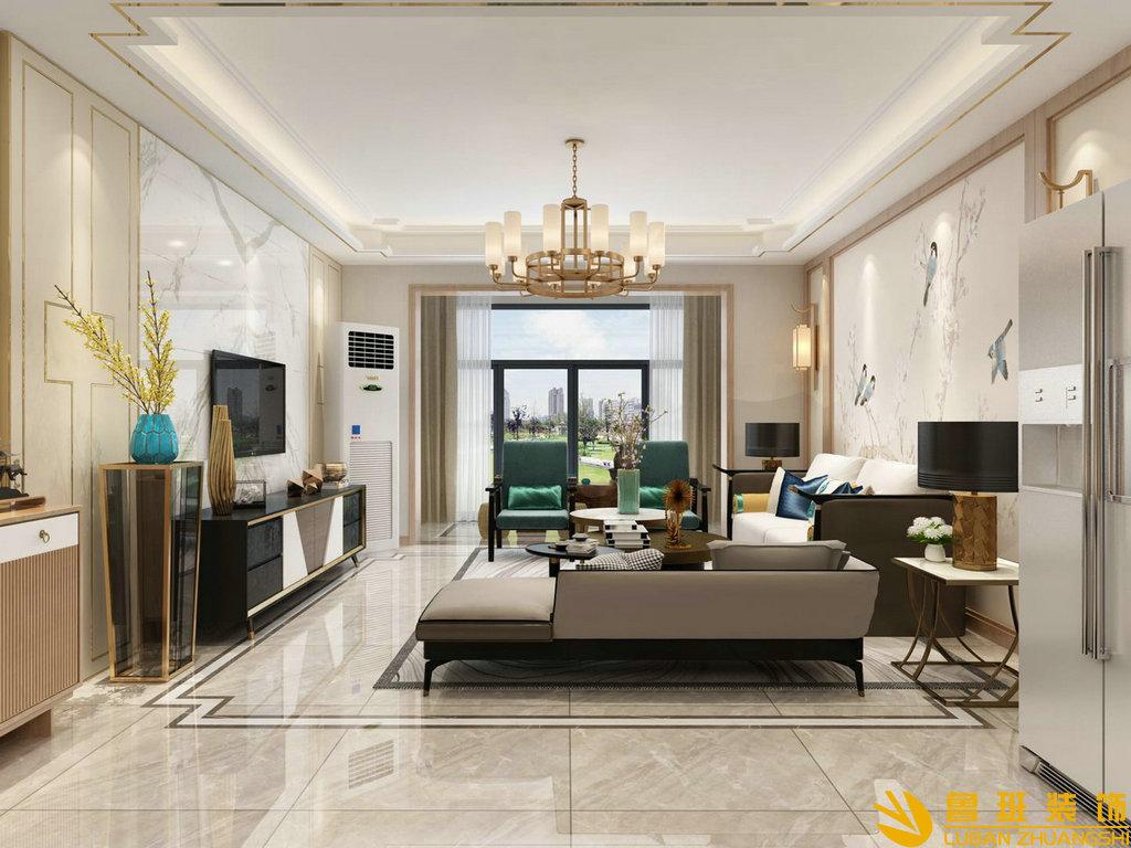 时代广场130平新中式三房装修设计效果图