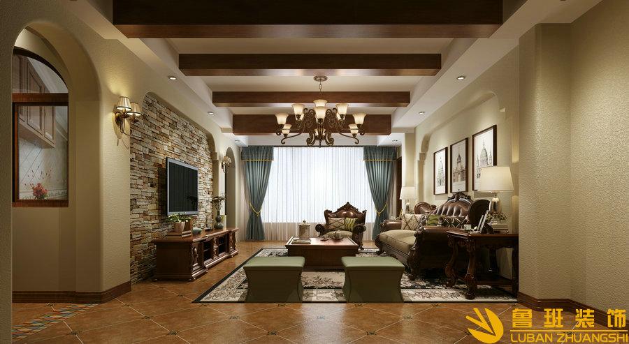 炜岸城180平美式乡村新房装修设计实景图