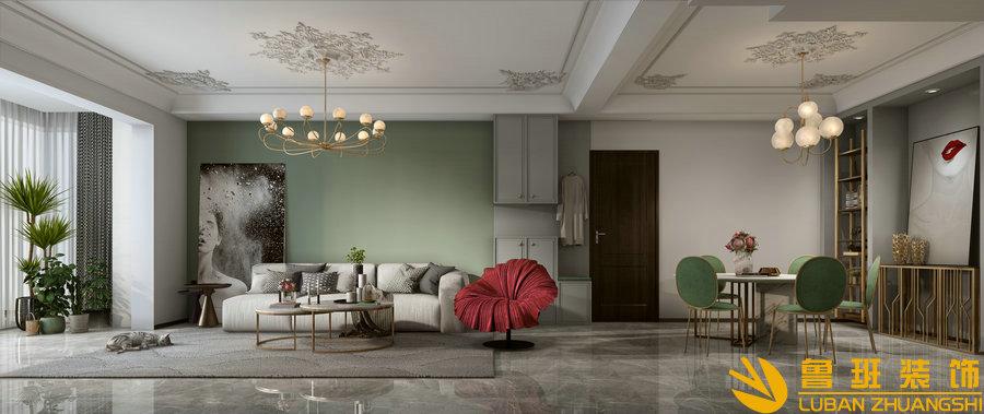 中州中央公园120平法式设计装修客厅沙发