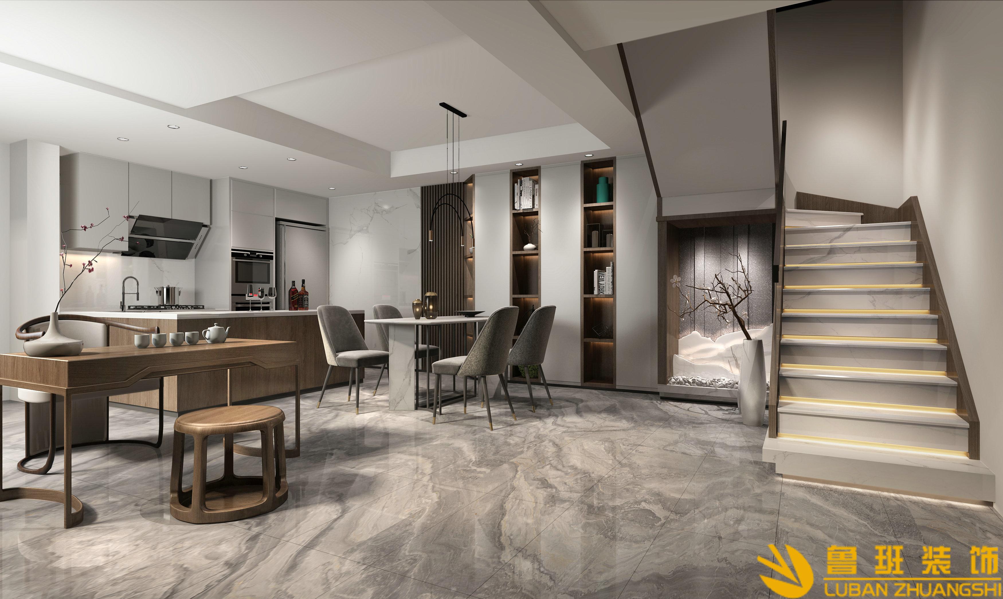 青城山居两室三卫118.3平米现代新中式餐厅