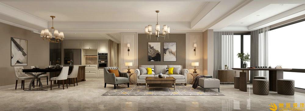 时代金科名苑两室两卫130平米现代美式客厅1